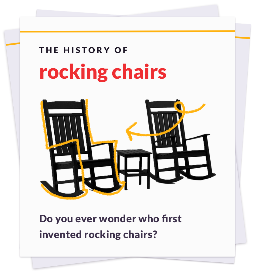 card showing the history of rocking chairs